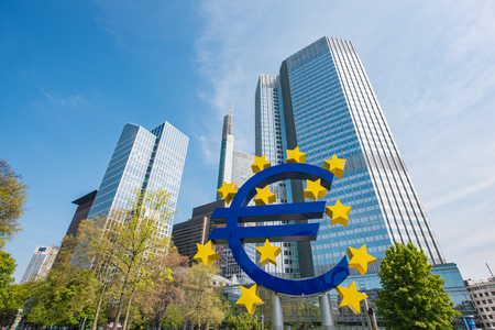Frankfurt, Germany - May 1, 2016: Euro sign in Frankfurt am Main, Germany. Frankfurt is the largest city in the Germany state of Hesse Editorial