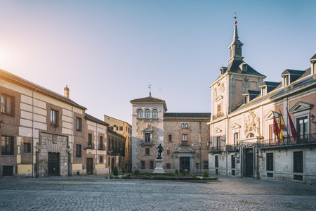 View of Madrid old Plaza de La Villa in the old town of Madrid, Spain. Architecture and landmark of Madrid Stok Fotoğraf