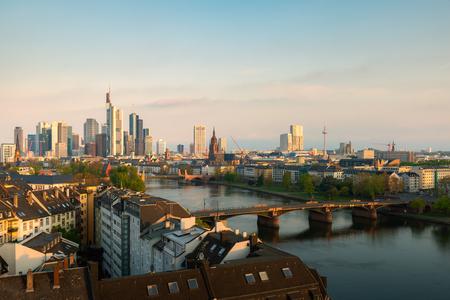 Cityscape image of Frankfurt am Main skyline during beautiful morning.