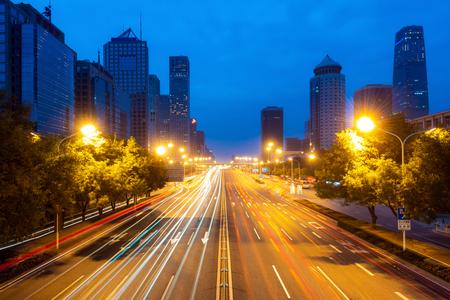 Orizzonte di Pechino al quartiere centrale degli affari di Chaoyang a Pechino, Cina.