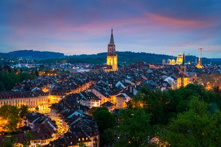 City of Bern skyline with a dramatic sky in Bern, Switzerland