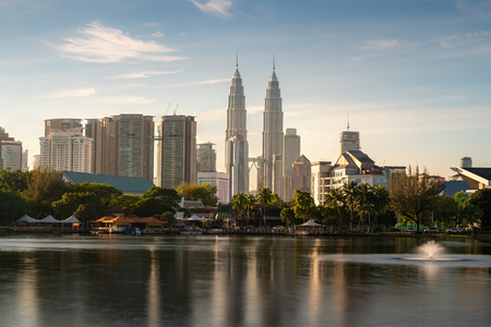 Kuala Lumpur city skyscraper and fountation with nice sky morning at Titiwangsa Park in Kuala Lumpur. Malaysia. Travel and Vacation concept. Redakční