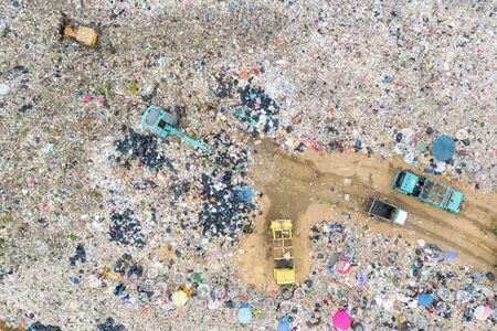 Garbage or waste Mountain or landfill, Aerial view garbage trucks unload garbage to a landfill. Plastic pollution crisis. industry and pollution global warning or recycle garbage concept Stock Photo