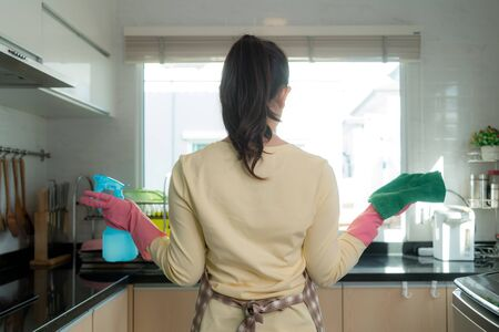 Rear view of Asian woman wearing rubber protective pink gloves, holding rag and spray bottle detergent, hands at her hips, observing clean and sparkling kitchen. Home, housekeeping concept