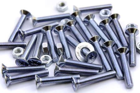 many nut and bolt on white background Stock Photo - 16308955