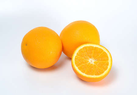 twin and half orange on white background