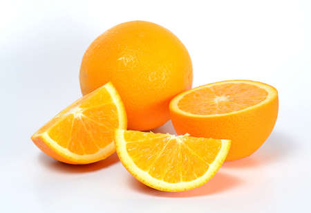 many orange on white background