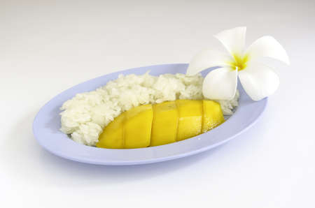 Thai Dessert Sweet Sticky Rice With mango on dish