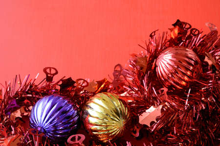 Christmas decoration on red background Stock Photo