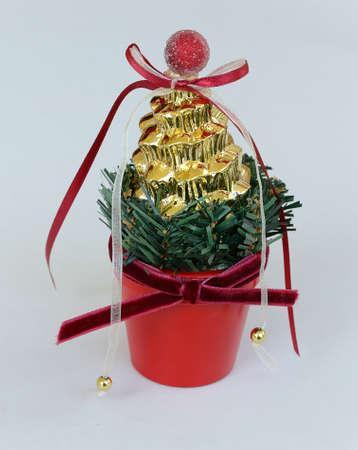 Christmas decoration on grey background Stock Photo