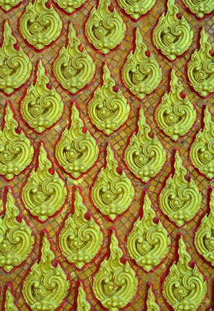 thai art pattern on the wall.in the temple Stock Photo