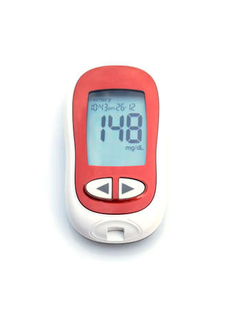 hypoglycemic: glucose meter on white background Stock Photo