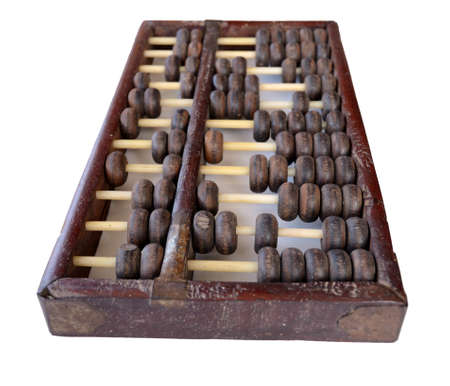 old chinese abacus on white background