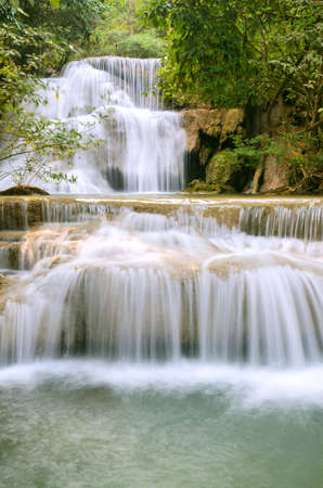 waterfall in tropical forest,at Kanchanaburi Thailand. Stock Photo