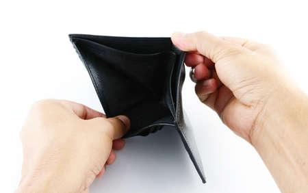 empty wallet: empty wallet in hand Stock Photo