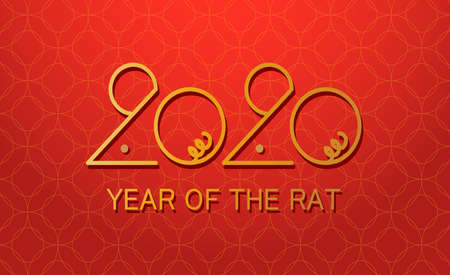Happy chinese new year 2020 year of the Rat, red and gold