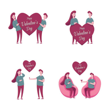 Vector illustration of Valentines Day with a pair of lovers. perfect for backgrounds, cards, leaflets, brochures, banners. Ilustrace