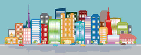 daytime: city background flat design daytime