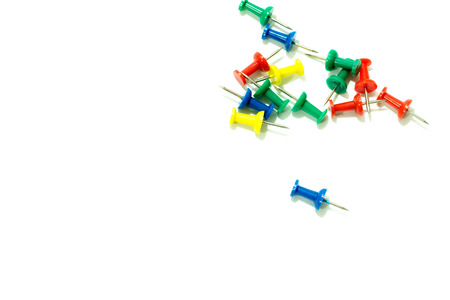 Set of colorful thumbtacks push pins .top view isolated on white background Stock Photo
