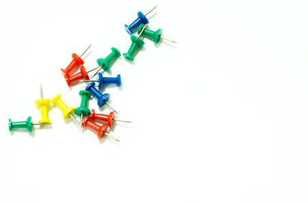 drawing pin: Set of colorful thumbtacks push pins .top view isolated on white background Stock Photo