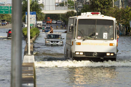 BANGKOK, THAILAND - NOV 12: Commuter transporting on the big truck after the city was flooded on November 12, 2011 in Bangkok, Thailand. Stock Photo - 11274018
