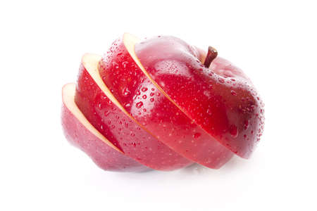 sliced red apple fresh, red apple sliced arrange isolate on white screen. Stock Photo