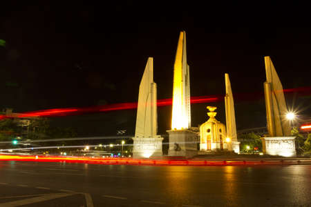 lighting monument, democracy monument in night light.