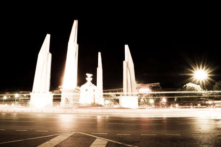 krung: Monument, adding light democracy monument at night in Bangkok. Editorial