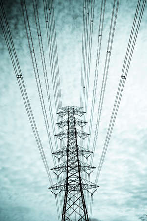 conductor: electricity pole, main electricity pole in cloudy sky painting green.