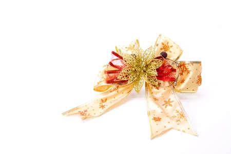 Greetings ribbon, a golden and red ribbon for decorate. photo