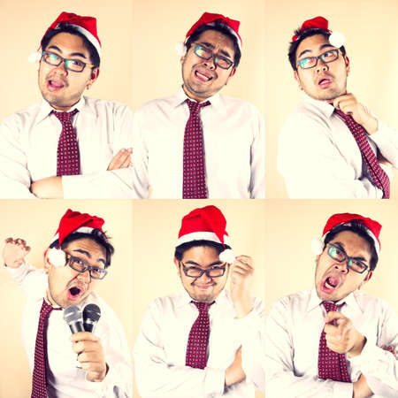 Funny Santa, Business male wear Santa hat in funny six actions photo