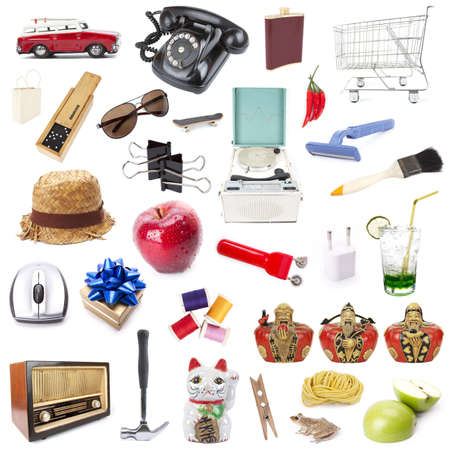 mixed object, Various objects mixing together on white background. Stock Photo