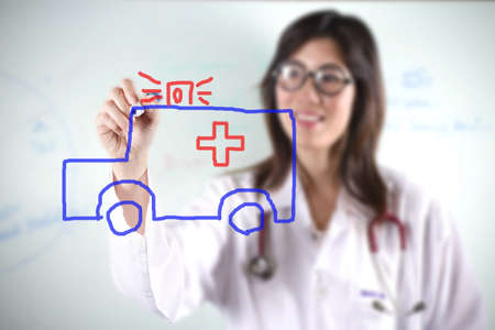 draw ambulance, female doctor drawing ambulance car graphic. Stock Photo - 11815964