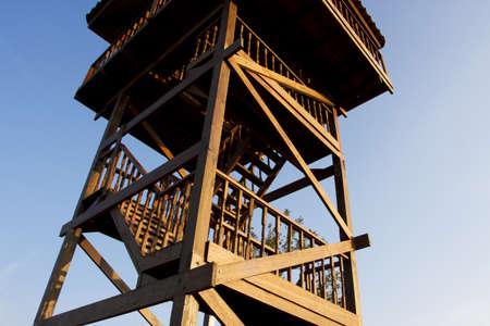 watchtower: wooden watchtower, Watchtower made from wood. Stock Photo