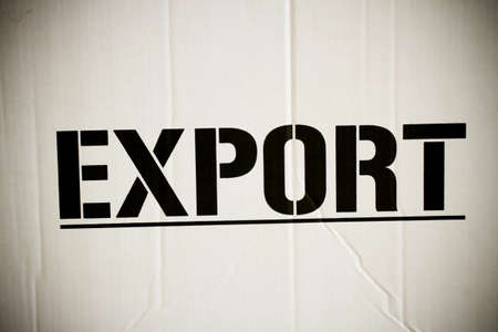 export box, word export printed on brown box surface. photo