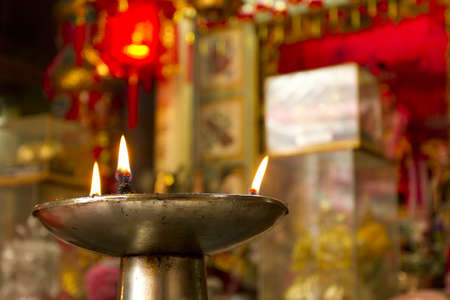 candle tray, brass candle oil tray in temple. Stock Photo - 11976775