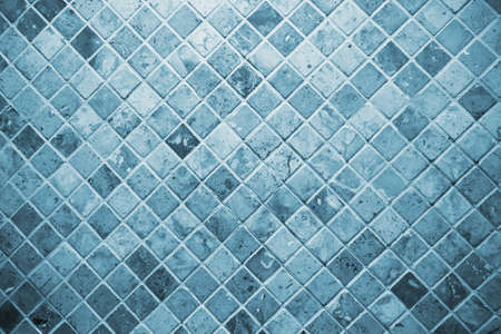 tile, blue square tile toilet wall. Stock Photo