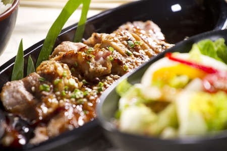 grill beef, Japanese grill beef with teriyaki sauce on dish. Stock Photo