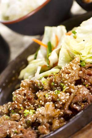 beef yakiniku, hot pan fried beef yakiniku with vegetable. Stock Photo - 12430609