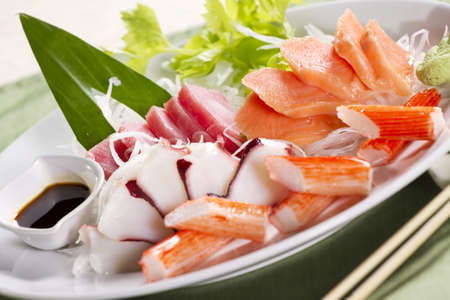 mix sashimi, mix raw fresh fish Japanese food. photo