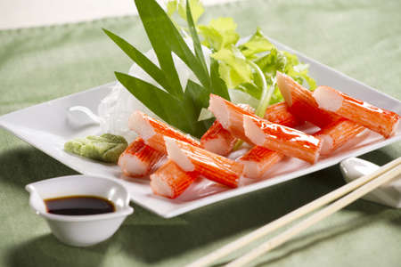 crab stick meal, decorate crab stick in white plate Japanese food.