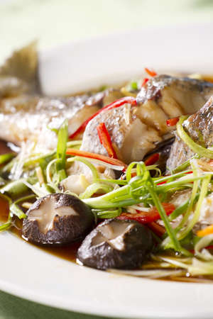 snake-head fish dish, snake-head fish steamed with soy sauce  Stock Photo