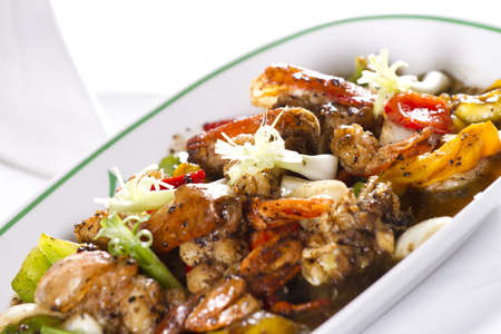 stir fried seafood black pepper, mix seafood with black pepper and vegetable Stock Photo - 12947039
