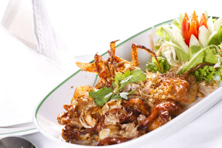 deep fried crab, Deep fried soft shell crab with pepper and garlic photo