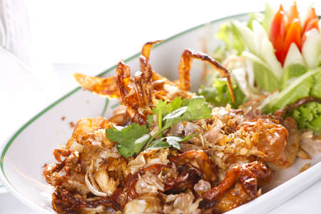 fried crab, Deep fried soft shell crab with garlic photo