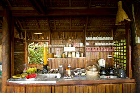 breakfast treat, breakfast prepared area made with bamboo wood