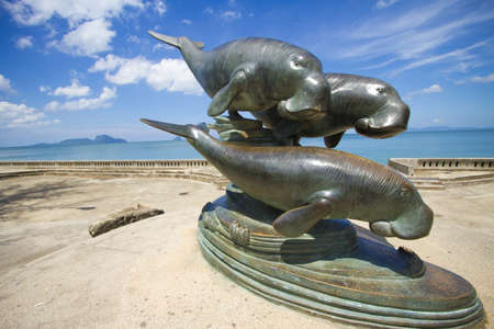 whale monument, whale monument on the beach of Trang, Thailand Stock Photo - 13451676