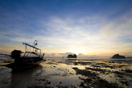 evening, ebb water in the evening at Thailand photo