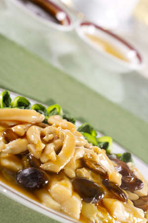 sticky sauce vegetable, Steamed vegetable in Chinese style with soy sauce  photo