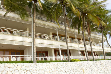 beach building, beach condominium with coconut palm tree at front
